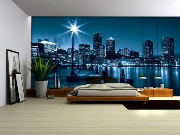 Флуоресцентные фотообои в интерьере современной спальни, могут заменить ночное освещение и создадут романтическую атмосферу в комнате