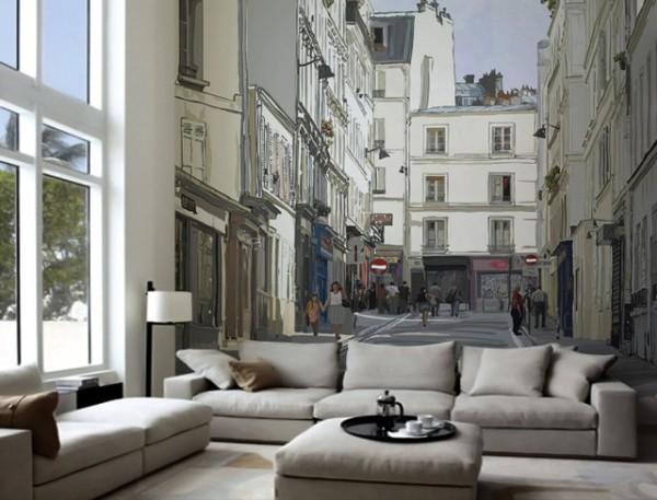 Фотообои фреска на стену в современном минималистическом интерьере гостиной