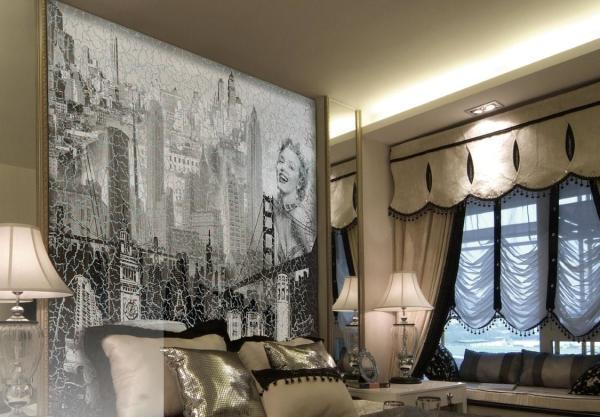 Фотообои фреска с эффектным чёрно-белым изображением в интерьере спальни