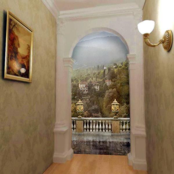 Фотообои фреска с изображением вида с балкона на городок в горах, украсит пустой коридор