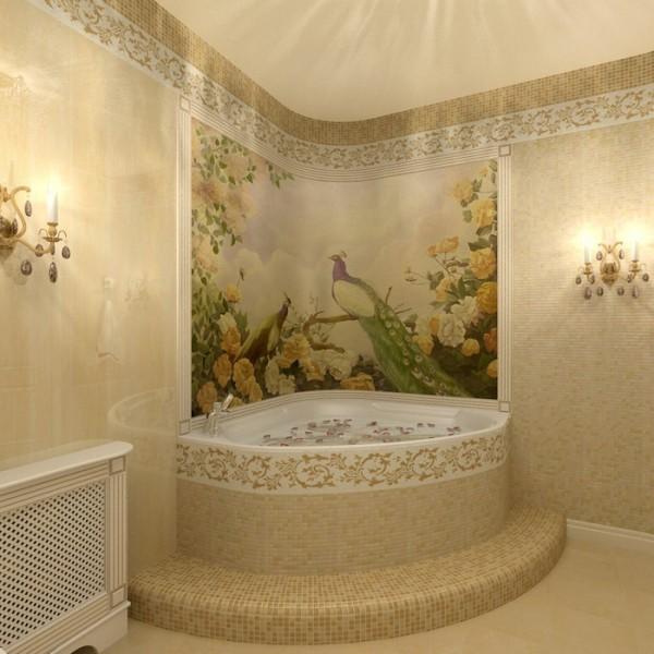Фотообои фреска с природным сюжетом в благородном интерьере ванной комнаты
