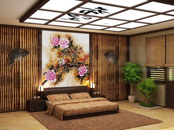 Фотообои фреска с цветочным сюжетом в японском интерьере спальни