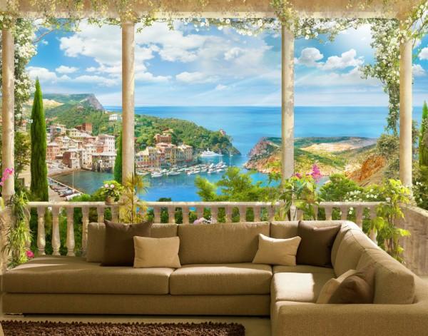 Фотообои на стену фреска с изображением красочного вида с террасы, в интерьере гостиной