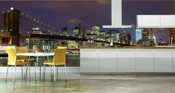 Фотообои ночной нью йорк в интерьере современной кухни