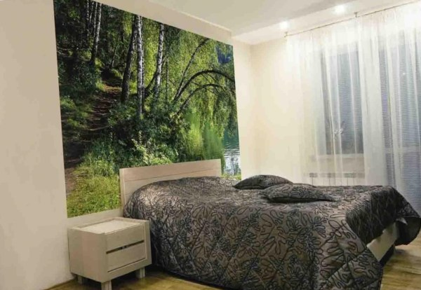 Фотообои с изображением лесной тропинки, в интерьере обычной спальни