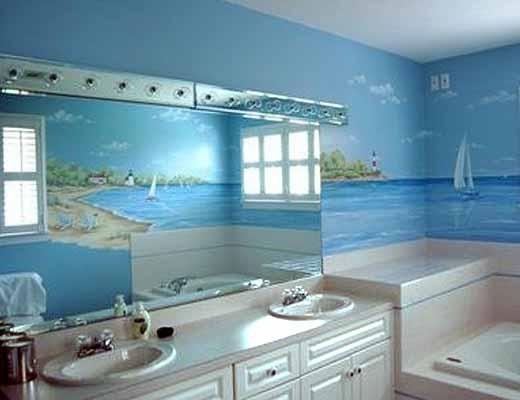 Фотообои с изображением неба и моря, могут визуально расширить пространство комнаты