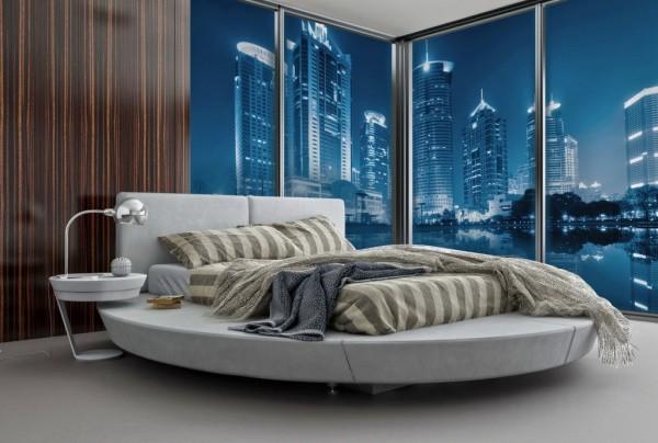 Фотообои с изображением ночного города вид снизу с реки, в интерьере ультрасовременной спальни