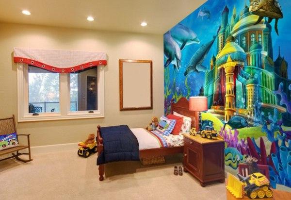 Фотообои с изображением подводного королевства в интерьере детской комнаты