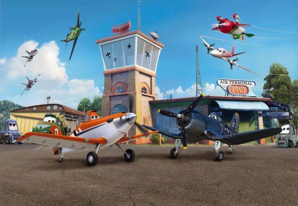 Фотообои с изображением сказочной жизни мультяшных самолётиков