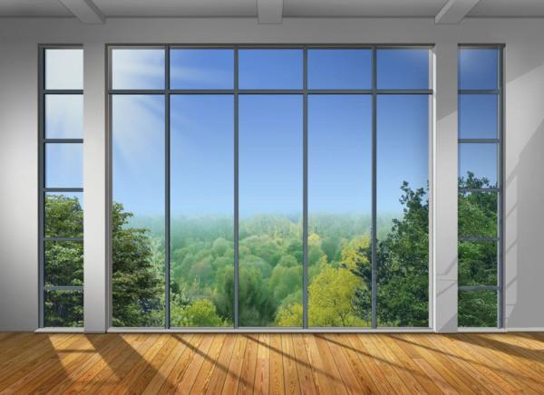 Фотообои с изображением такого вида из панорамного окна на небо и лес, станут украшением любого стилистического интерьера