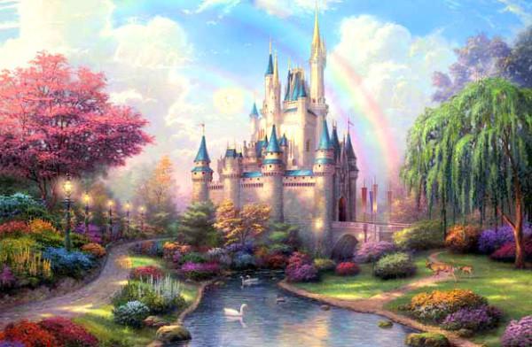 Фотообои с таким сказочным замком понравятся не только детям, оно хорошо подойдёт и для гостиной или даже спальни