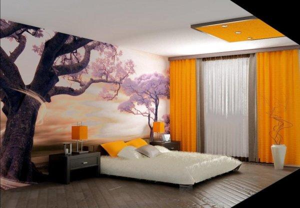 Фотообои в спальне над кроватью, с изображением цветущей сакуры на фоне заката, в интерьере спальни