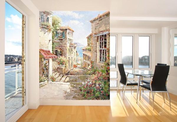 Фрески фотообои на стену с изображениями старых городов, могут внести изящного благородства в современный интерьер любой комнаты