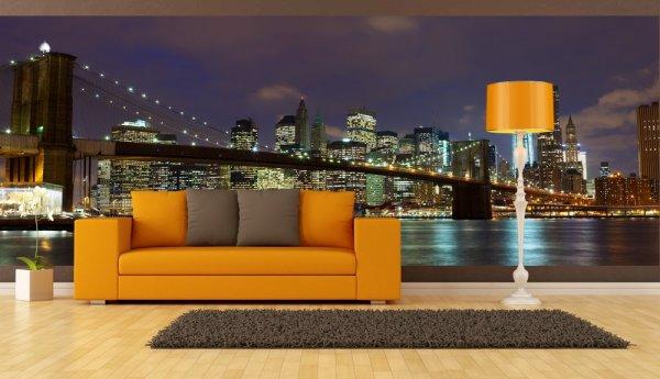 На фото, фотообои нью йорк в интерьере гостиной