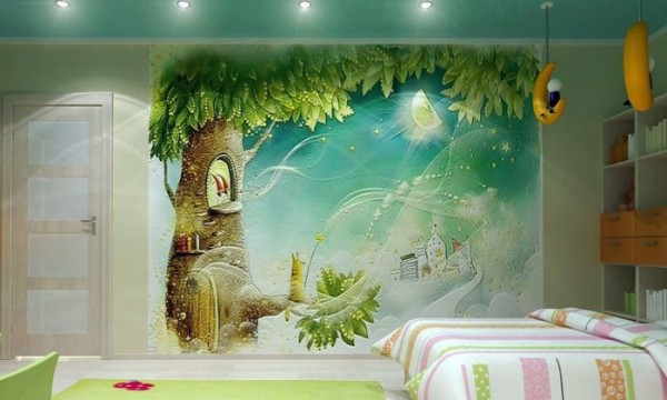 На фото, фотообои с изображением сказочного мира в интерьере детской комнаты