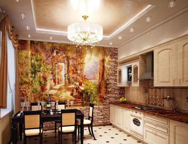 На фото, текстурные фотообои фреска с изображением улочки старого города, в интерьере кухни