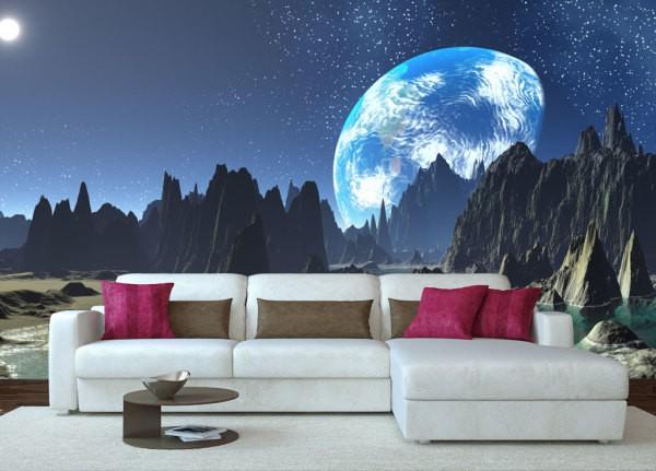 Необычный небесный сюжет, вид на звёздное небо и землю с другой планеты