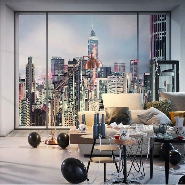 Оформив фотообои в виде панорамного окна, вы почувствуете себя жителем динамичного Нью-Йорка