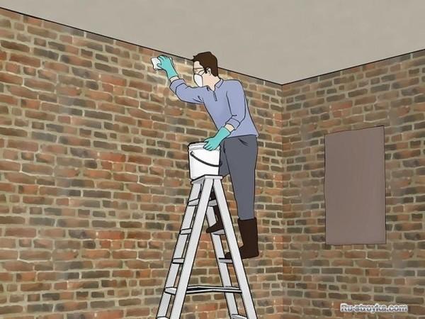 Отмывка стены от пыли
