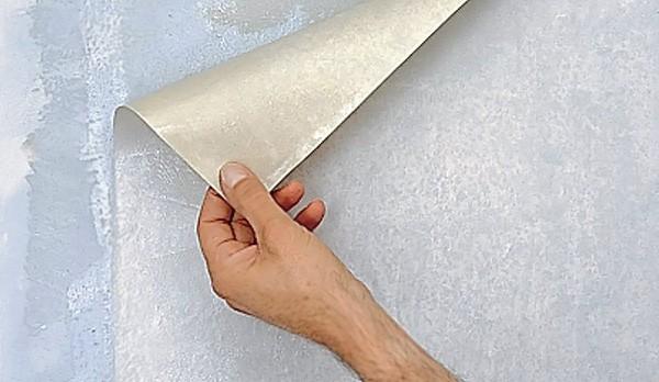 Удаление виниловых обоев с гипсокартона