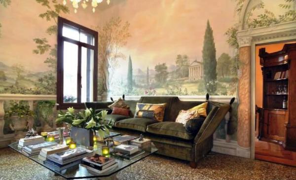 Живопись в гостиной комнате