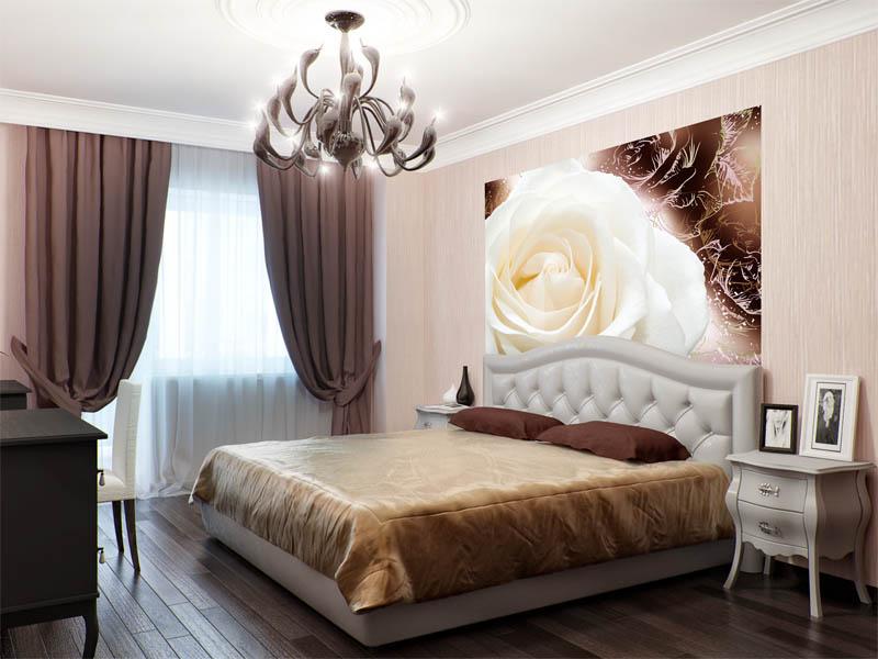 Фотообои с изображением нежного цветка на тёмном фоне, подчёркивают классический стиль спальни