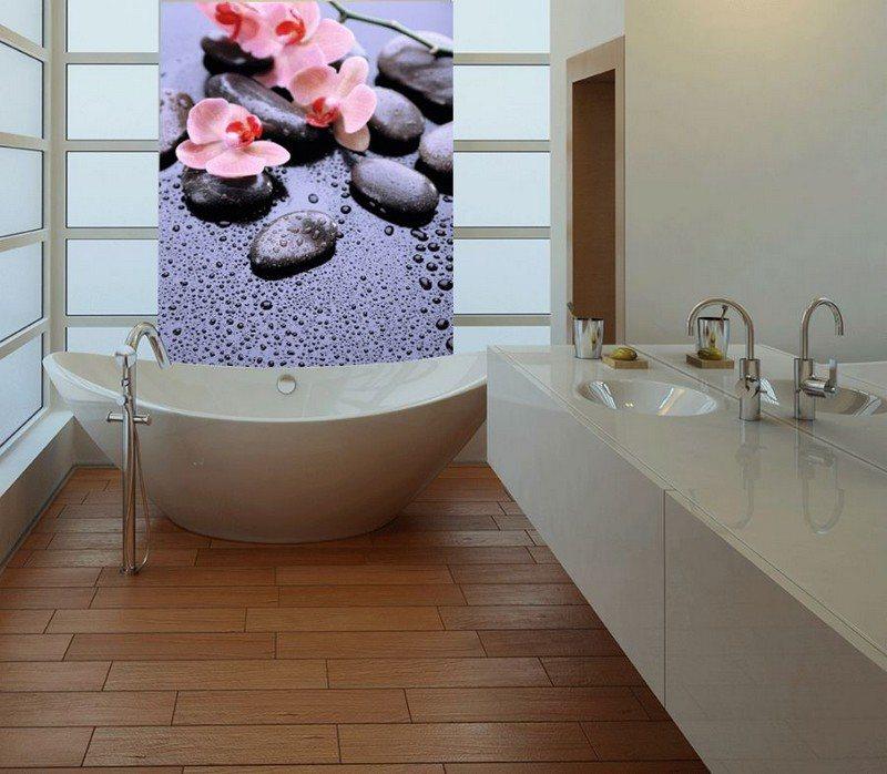 Фотообои с изображением цветов в интерьере ванной комнаты