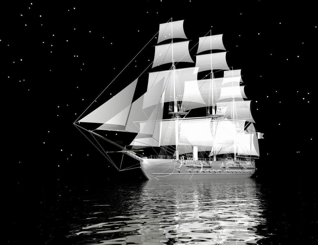 Чёрно-белые фотообои со светящимся изображением корабля в ночном море