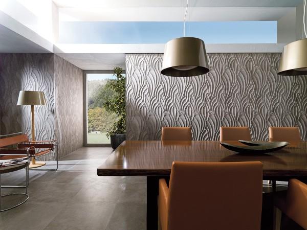 Декоративная отделка облицовочной плиткой: керамогранит в интерьере гостиной