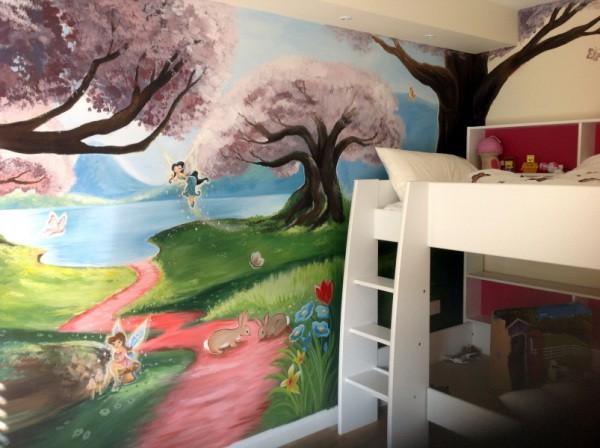 Детские фотообои для девочек. Хорошее сочетание стилистики и цветовой гаммы рисунка