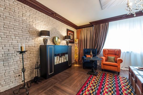 Дизайн гостиной с гипсовой плиткой под кирпич