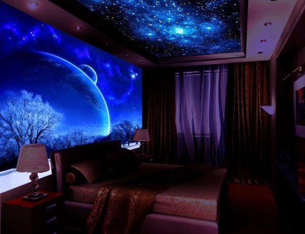 Флуоресцентные 3Д фотообои с космическим мотивом в интерьере спальни
