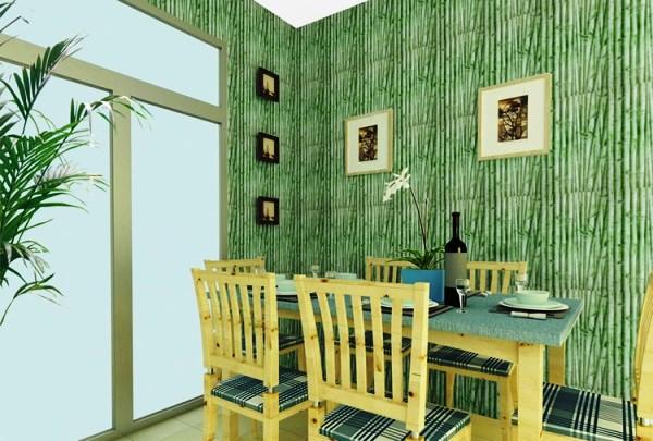 Фото оригинального решения интерьера при помощи бамбуковых обоев.