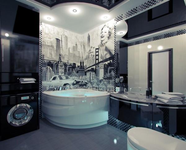 Фотообои с чёрно-белым урбанистическим изображением в интерьере современной ванной комнаты