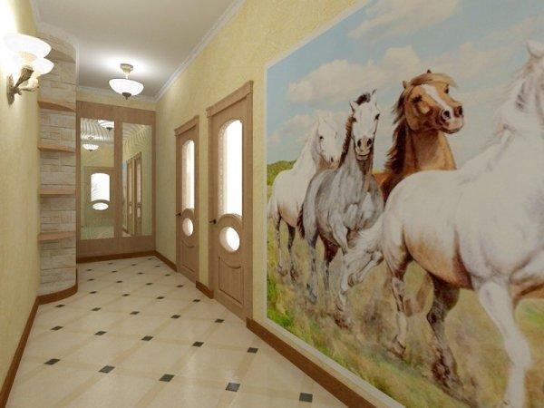 Фотообои с изображение бегущих лошадей. Красивый тематический рисунок, который прекрасно впишется в интерьер большой прихожей