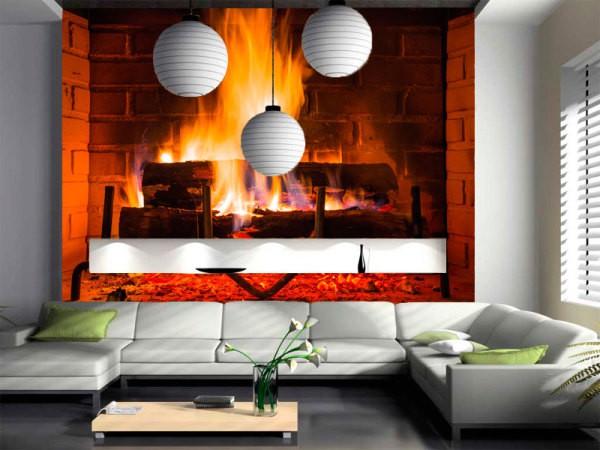 Фотообои с изображением горящего огня в камине в интерьере современной гостиной