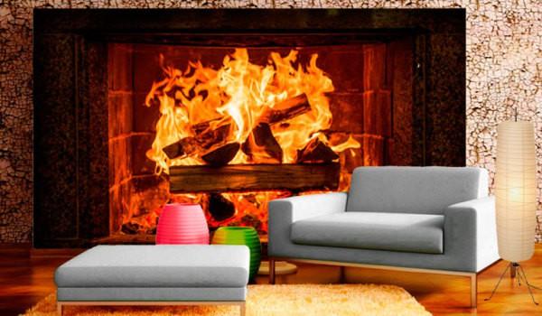 Фотообои с изображением горящий огонь в камине, в интерьере гостиной