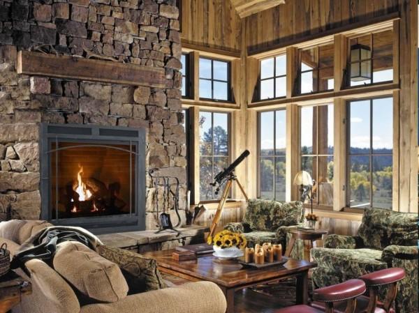Фотообои с изображением камина в интерьере гостиной