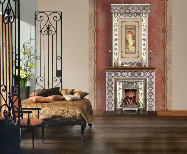 Фотообои с изображением камина в спальне, в стиле модерн
