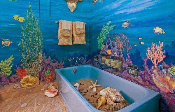 Фотообои с изображением морского дна и его обитателей в морской ванной комнате