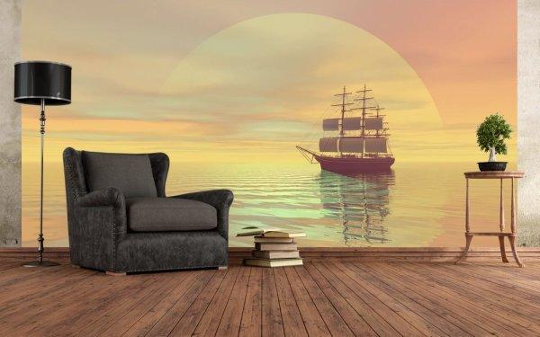 Фотообои с изображением парусника на фоне заката, в морском интерьере