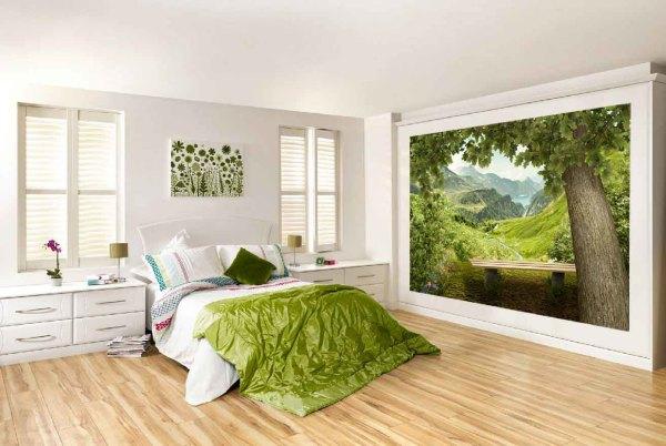 Фотообои с изображением природных сюжетов подойдут в любой интерьер спальни