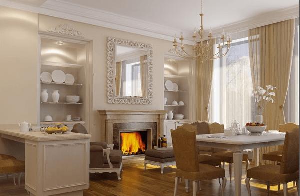 Фотообои с камином в классическом интерьере кухни-столовой