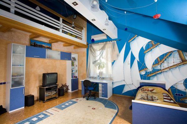 Фотообои с увеличенным изображением корабля в морском интерьере детской комнаты