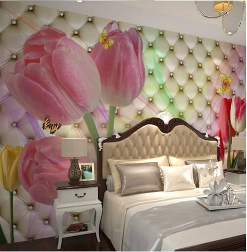 Фотообои в спальню с тюльпанами принесут в атмосферу комнаты дух романтики