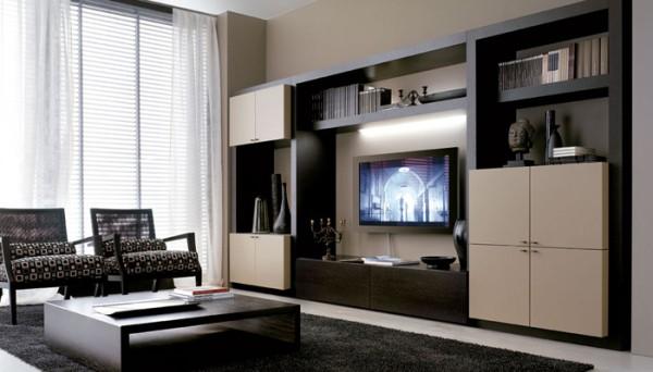 Интерьер с телевизором на стене в современном стиле