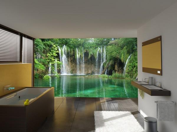 На фото, фотообои с изображением потрясающего водопада в чаще леса