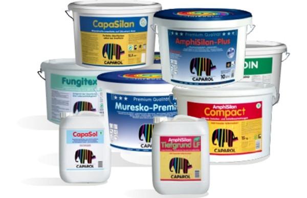 На фото представлена коллекция фасадных и интерьерных красок Капарол