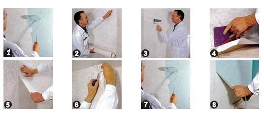 Начинать покраску можно только тогда, когда клей полностью высохнет и полотно надежно приклеится к стене.