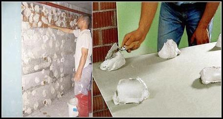 Нанесение клея на стену и гипсокартон